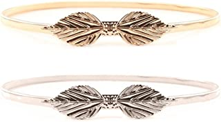 Women Slim Fit Metal Waist Belt Leave Knot Buckle in Gold/Silver Pack of 2