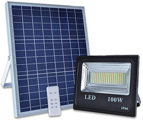 XXZJD Luces De Inundación De 100W LED Control Remoto 12000LM Al Aire Libre Control Solars IP66 A Prueba De Agua Motorizado 3 Colores Temperaturas para Césped Jardín Granja