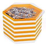 Becko Bandeja apilable con forma de puzle, bandeja de clasificación, puzle con tapa, accesorios para puzzles de hasta 2000 unidades, 12 bandejas hexagonales, color blanco y naranja