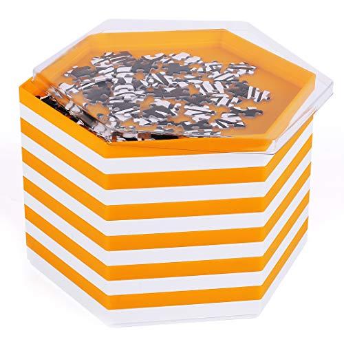 Becko stapelbare Puzzle Sortiertabletts / Sortierschalen / Puzzle sortierer mit Deckel, Puzzle Zubehör für Puzzles bis zu 2000 Stück, 12 sechseckige tabletts / Schalen in Weiß und Orange