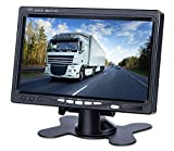 Upgrade Backup Camera Monitor 7 Inch Rearview Reversing LCD Monitor, 1280X720P Resolution Screen, Two Video Input Plug V1/V2 Car Rearview Cameras,— HD Transmission, 【Just a Monitor】 — DVKNM (DBT)