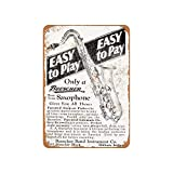 YY-one Vintage Decorative Metal Signs 1928 Buescher Saxophones Metal Tin Sign Wall Decor 10 X 14 Inches