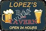 No/Brand Lopez'S Bar and Tavern Open 24 Hours Cartel de Chapa Metal Advertencia Placa de Chapa de Hierro Retro Cartel Vintage para Dormitorio Pared Familiar Aluminio Arte Decoración