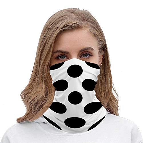 Polka Dots Spots Dotted White Black Neck Gaiter Tube Mask Headwear, Seamless Face Cover Mouth Mask Bandanas for Dust, Outdoors, Festivals, Sports