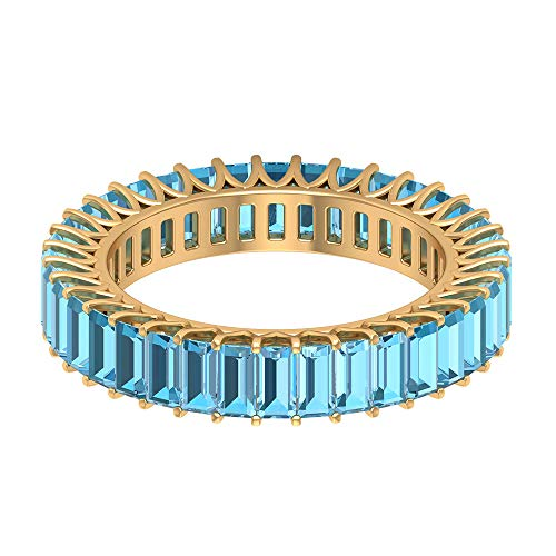 Anillo de eternidad personalizado de 4,32 CT azul cielo certificado aguamarina completa, 2 x 4 mm baguette marzo piedra natal anillo de aniversario, 14K Oro amarillo, Size:EU 59