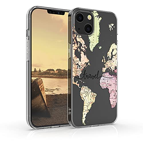 kwmobile Hülle kompatibel mit Apple iPhone 13 - Hülle Silikon transparent Travel Schriftzug Schwarz Mehrfarbig Transparent