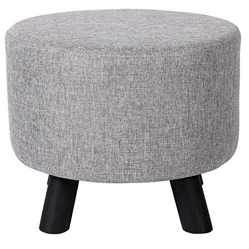 BIRDROCK HOME Grey Linen Foot Stool Ottoman – Soft Compact Round Padded Seat - Living Room, Bedroom and Kids Room Chair – Black Wood Legs Upholstered Decorative Furniture Rest – Vanity Seat
