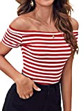 Women's Short Sleeve Vogue Fitted Off Shoulder Modal Blouse Top T-Shirt (XX-Large, Red Stripe)