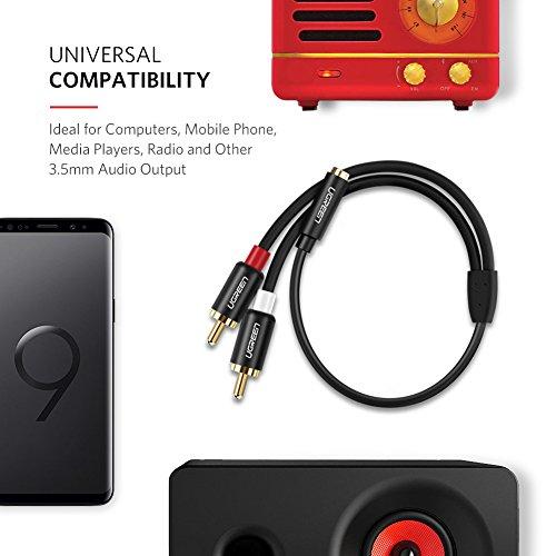 UGREEN Câble RCA Jack 3.5mm Femelle vers 2 RCA Mâles Version Améliorée Adaptateur Jack RCA Stéréo Compatible avec Téléphone TV PC Tablette Ampli Chaîne HiFi Barre de Son Home Cinéma Enceinte, 20 CM