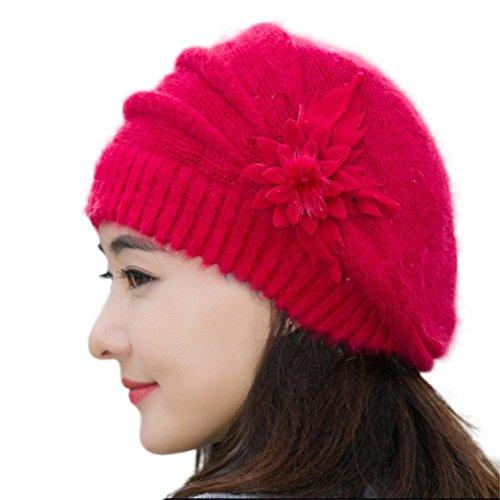 FAMILIZO Manera de las mujeres de la flor de punto de ganchillo Beanie sombrero caliente del invierno del casquillo de la boina (Rojo)