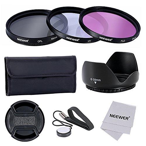 Neewer® 58mm Lente Filtro Kit Accessori per Fotocamere CANON EOS 700D 650D 600D 550D 500D 450D 400D 350D 300D 1100D 1000D 100D 60D / Rebel T5i T4i T3i T3 T2i T1i XT XTi XSi SL1 DSLR - Include: (1)58mm Set Filtro (UV, CPL, FLD) + (1) Paraluce Tulipano + (1) Snap-on Coprilente + (1) Coprilente Custode Guinzaglio + (1) Filtro Custodia per il Trasporto + (1)Microfibra Panno di Pulizia