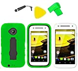 Heavy Duty Hybrid Phone Cover Case Cell Phone Accessory + Extreme Band + Stylus Pen + LCD Screen Protector + Yellow Pry Tool For Motorola Moto E 2nd Gen 4G LTE 2015 (Green/Black)