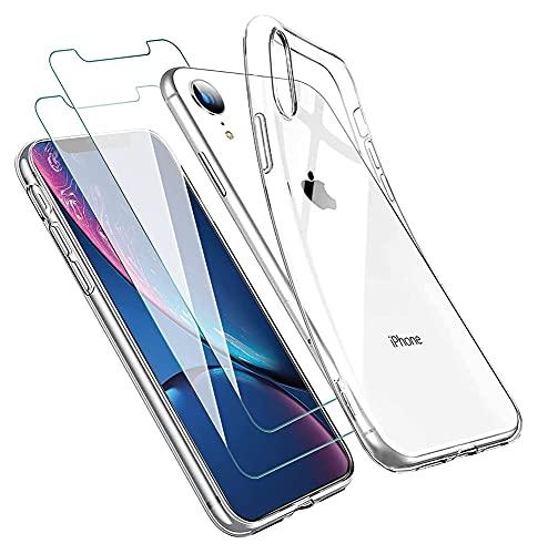 ICOVERI Pack Funda Gel Transparente antigolpes Compatible con iPhone XR TPU Flexible + 2 Cristales templados, protección 9H