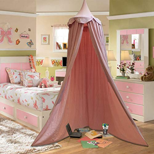 Personalisierbarer Betthimmel für Kinder, rund, Kuppeldekoration, Baumwolle, Moskitonetz, Kinder-Prinzessinnen-Spielzelt, Tipi-Zimmerdekoration für Baby (Rosa)