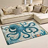 Blue Octopus Nautical Map Area Rugs 5' x 3' Door Mats Indoor Polyester Non Slip Multi Rectangle Carpet Kitchen Floor Runner Decoration for Home Bedroom Living Dining Room