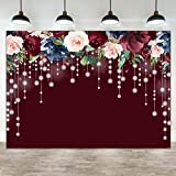 Ticuenicoa 7×5ft Red Burgundy Floral Photo Backdrop Bright Lights Wine Red Adults Party Photography Background Burgundy Bridal Shower Wedding Bachelorette Birthday Party Banner Decorations Props