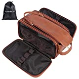 Toiletry Bag for Men FUNNHAOO PU Leather Cosmetic Bags Large capacity shaving bag and Toiletries Organizer Portable storage bag for cosmetics shower and shaving items (Standard, Brown)