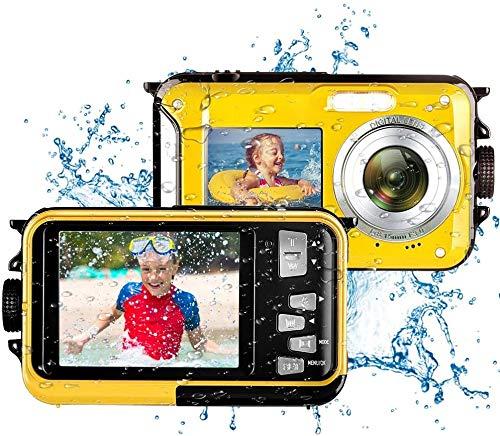 Cámara sumergible Full HD 2.7K 48MP 16X Digital Zoom sumergible Cámara Digital Impermeable Selfie Dual Screen (Azul)