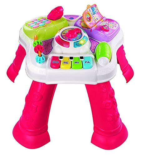 VTech Play & Learn Baby Activity Table, Baby Play Centre, Educational Baby Musical Toy with Shapes Sorting, Sound Toy for Babies & Toddlers from 6 Months+, Boys & Girls, Pink