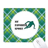 バランススケート 緑の格子のピクセルゴムのマウスパッド