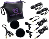 Purple Panda Dual Interview Lavalier Lapel Microphone Kit (2 Pack) for Podcast - Professional Omnidirectional Clip On Lav Mic - Compatible with iPhone, Android, DSLR Camera, Samsung, Zoom, Tascam