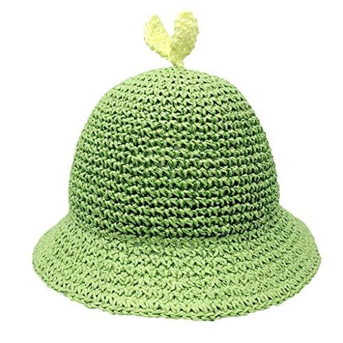 Julhold Sombrero de playa Seaside Sombrero de protección solar Sombrero de paja tejida a mano pequeño brotes de frijol sombrero de paja