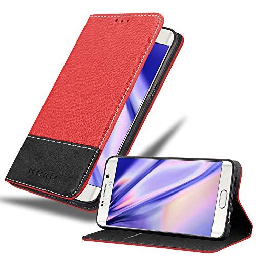 Cadorabo Funda Libro para Samsung Galaxy S6 Edge Plus en Rojo Negro - Cubierta Proteccíon con Cierre Magnético, Tarjetero y Función de Suporte - Etui Case Cover Carcasa
