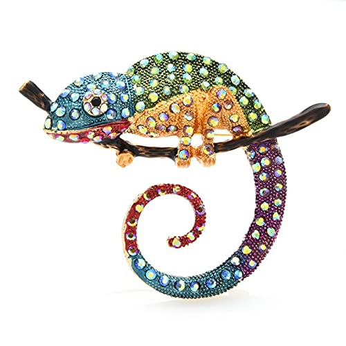 Broche de lagartija multicolor grande broche de moda animal broche joyería regalo 4 colores camaleón Pins-azul