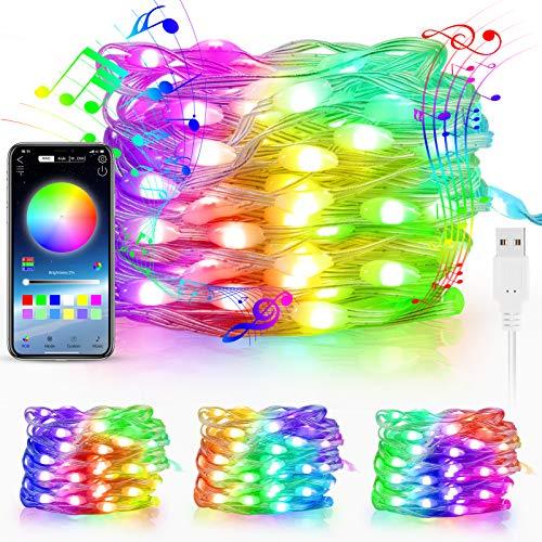 KNMY Cadena de luces LED, 60 tiras LED WiFi USB, cadena de luces Magic Color Música con aplicación de control multicolor, luces de ambiente, luces de ambiente para fiestas y decoración de Navidad