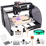 2-in-1 7000 m W 3018 Pro-M CNC Router Kit, GRBL Control 3 Axis Wood Plastic Acrylic PCB MDF Carving Milling Engraving Machine with Offline Controller, CNC Router Bits, ER11 Collects