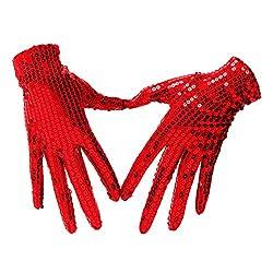 Red Sequin-Glitter-Gloves-Dance Costume