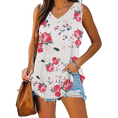 XOXSION Camiseta de verano para mujer, parte superior de pico, sin mangas, chaleco con estampado de flores, blusa informal con hombros descubiertos B Rosa S