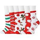 Fuzzy Socks Women 6 Pairs Winter Warm Slipper Christmas Girls Cozy Fluffy Crew Socks