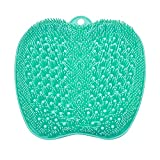 Best Shower Foot Scrubber Mat with Non-Slip Suction Cups- Cleans, Smooths, Exfoliates & Massages Your Feet Without Bending, Foot Circulation & Soothes Tired Feet -12x12Inch Larger