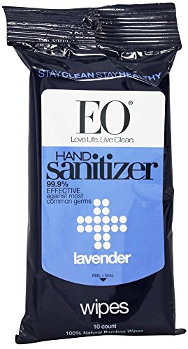 EO Products - Hand Sanitizer Wipes Lavender - 10 Pack(Pack of 6)
