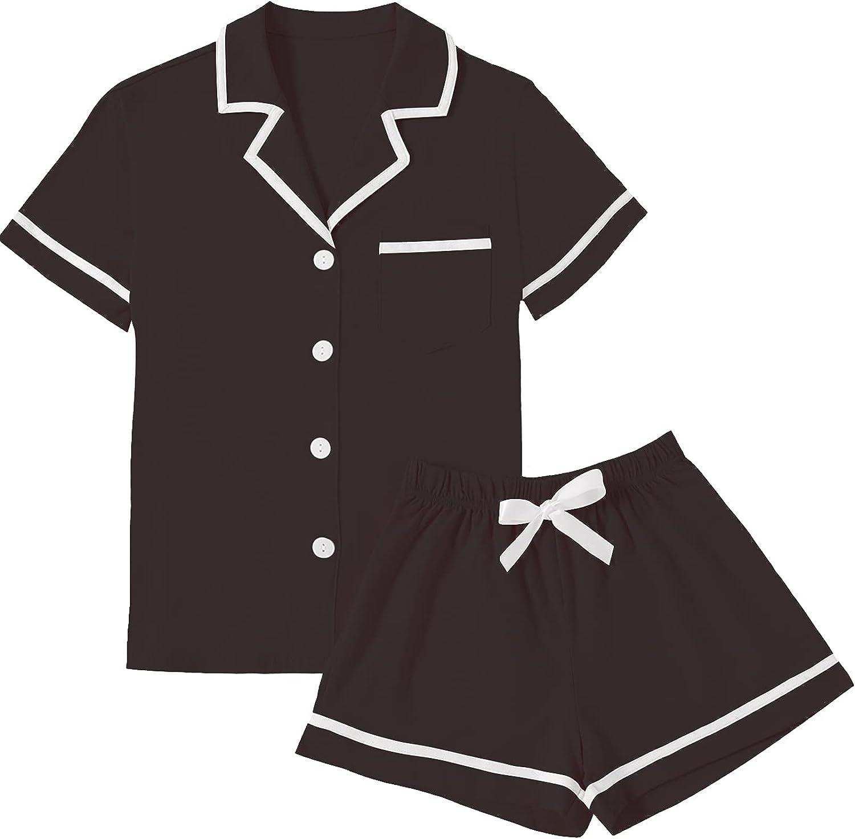 LYANER Women's Cotton Pajamas Set Button Sale item Sleeve Short Max 66% OFF with Shirt