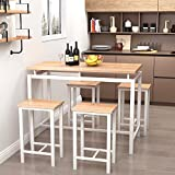 Recaceik 5 PCS Dining Table Set, Modern Kitchen Table and Chairs for 4, Wood Pub Bar Table Set Perfect for Breakfast Nook, Small Space Living Room