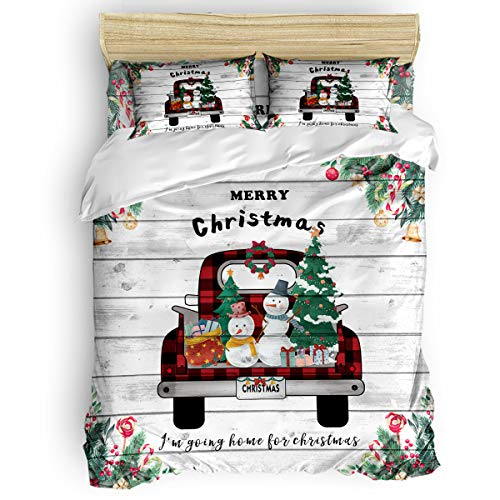 4 PCS Microfiber Duvet Cover Set, Soft Cozy Comforter with Smooth Zipper Closure, Skin-Friendly&Aid Sleep Quilt for Kids Adults, Christmas A Red Truck with Xmas Trees and Snowman on Wood, King