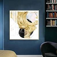 抽象的なモダンな北欧ゴールデンリボン写真装飾アートキャンバス絵画ポスターとプリントリビングルーム寝室の壁の装飾-50x50cmフレームなし