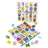 jerryvon Juguetes Montessori Puzzles de Madera Juguete Puzzle Numeros y Letras Abecedario...