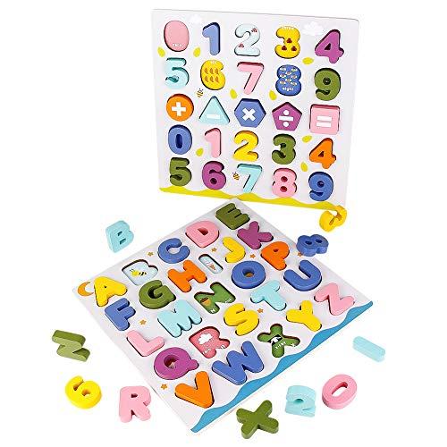 jerryvon Juguetes Montessori Puzzles de Madera Juguete Puzzle Numeros y Letras Abecedario Rompecabezas Infantil ABC Puzzle de Aprendizaje Educativos Regalos para Niños Niñas 3 4 5 6 Años
