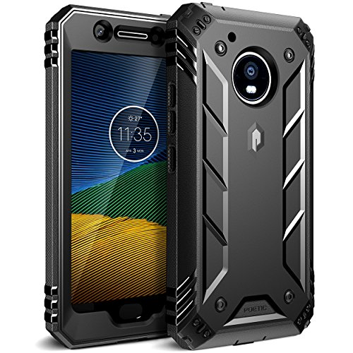 Poetic Revolution Moto G5 Case with Hybrid Heavy Duty Protection and Built-in Screen Protector for Motorola Moto G5 (2017) Black