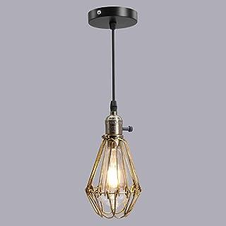 Artpad Retro Vintage Lámpara colgante de bronce envejecido para restaurante con interruptor giratorio, jaula de metal, colgante de techo, accesorios de luz E27 Bombilla Edison incluida para el comedor