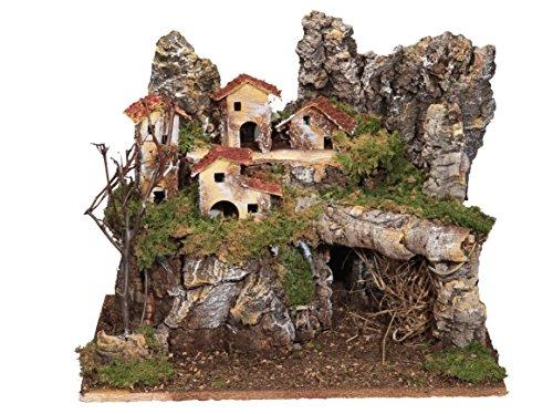 BERTONI Holz-Landschaft mit Lichtern und Häusern, leer, Holz, Mehrfarbig, Einheitsgröße