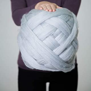 Giant Wool Yarn Chunky Arm Knitting Super Soft Wool Yarn Bulky Wool Roving Crochet Weaving Grey 5lb