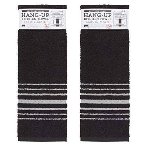 Now Designs 2240500aa Cotton Kitchen Towels Set of Two Hang-Up, Black