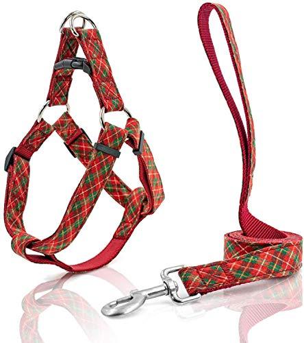 Dzwyc Correa y Collar de Perro para Perros pequeños Arnés para Perros medianos Nylon Webbing con arnés de Tela a Cuadros y Correa (Color : Red Green Stripes, tamaño : Large)