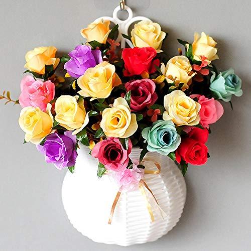 xgruisi kunstbloem hangende bloemen van de hangende mand in de pot decoratie Rayon en planten brachten aan de muur - donkerbruin
