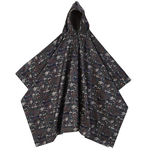 Demeras Raincoat Rain Poncho Premium Raincoat Waterproof Reusable Army Hooded Ripstop Rain Coat Poncho for Camping Hiking Outdoor
