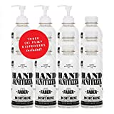 Faber Hand Sanitizer | 16.9 Oz Bottle | 12 Pack | 80 Percent Ethanol Alcohol Based Disinfecting Hand Cleanser, Unscented & Rinse Free Liquid Antiseptic Hand Sanitizer Refill, No Added Fragrance or Gel